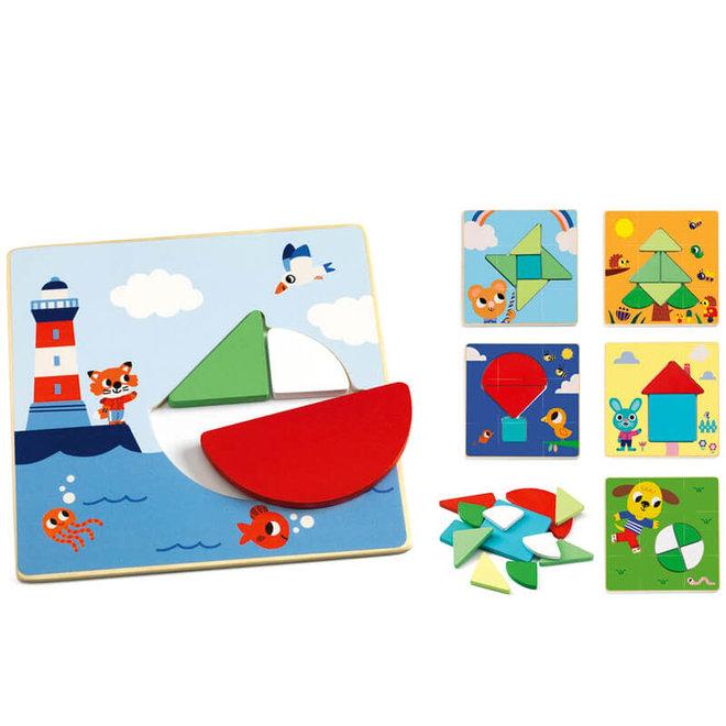 Houten puzzels tangram 3+