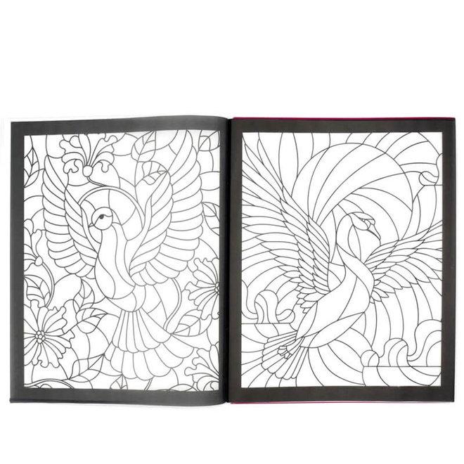 Glas-in-lood kleurboek dieren