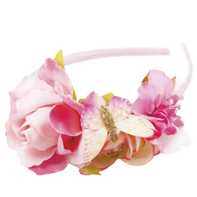 Diadeem met bloemen & vlinder