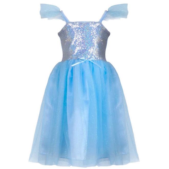 Jurk prinses pailletten blauw (5-6 jaar)