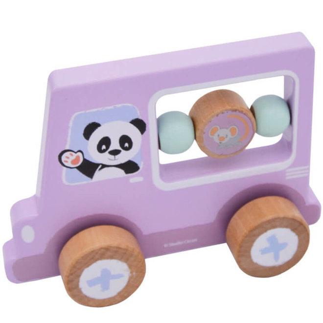 Houten auto paars panda 1+