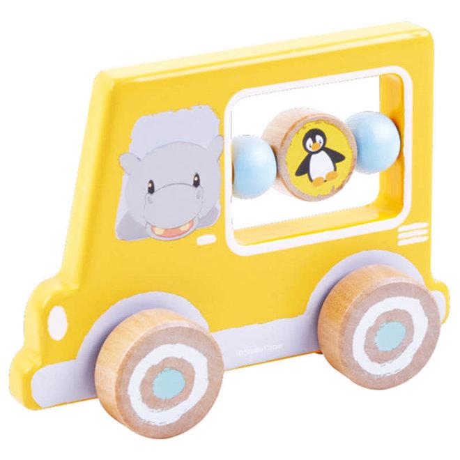 Houten auto geel nijlpaard 1+