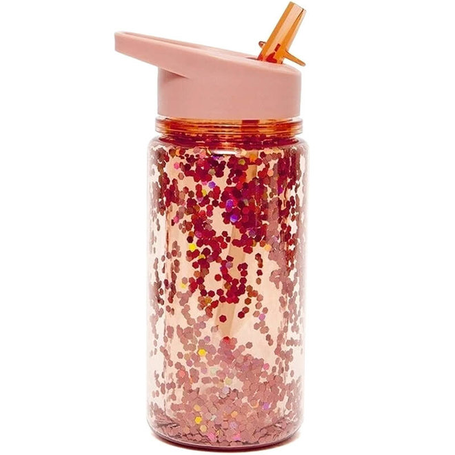 Drinkfles glitters peach blossom