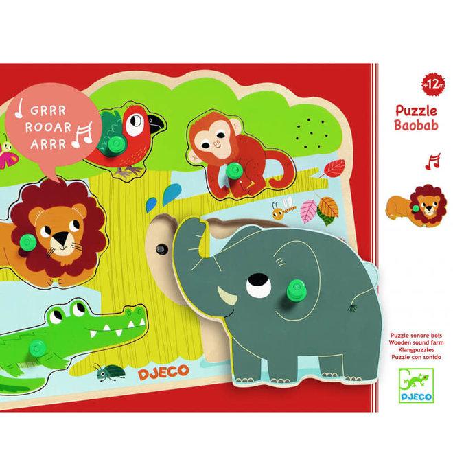 Djeco Puzzel met geluid - Jungle