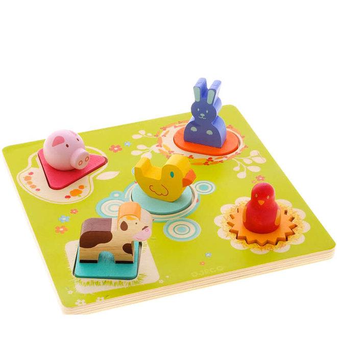 Houten puzzel met dieren 1+