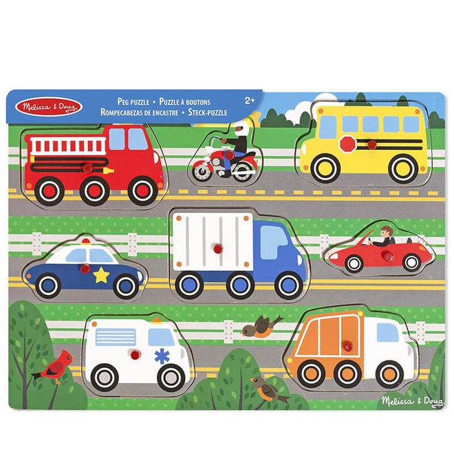 Houten puzzel voertuigen 1+
