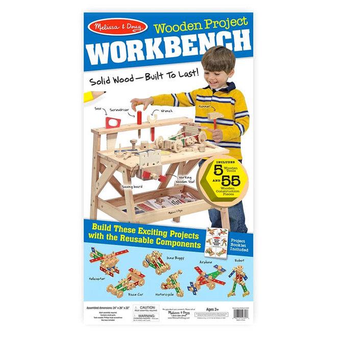 Houten werkbank met accessoires