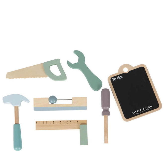 Houten werkbank met accessoires mint