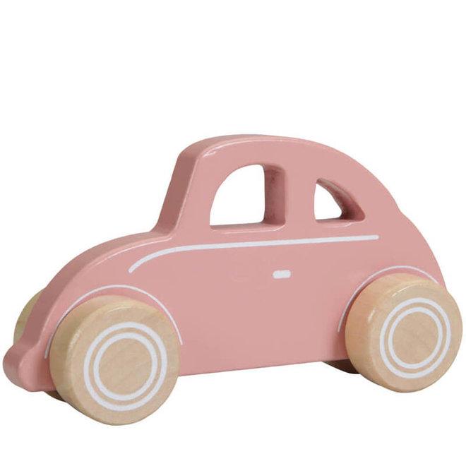 Houten retro auto roze 1+