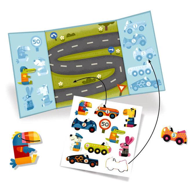 Djeco herbruikbare stickers auto's