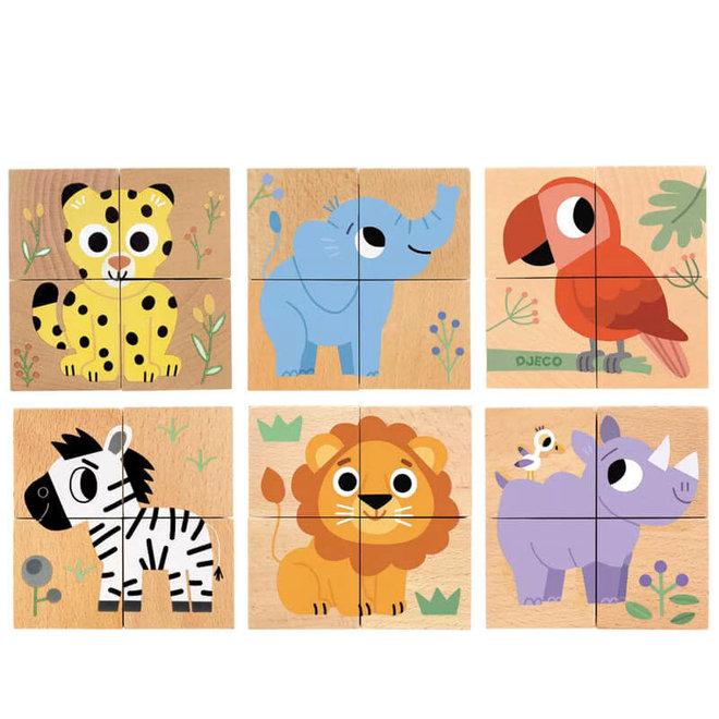 Blokpuzzel wilde dieren 2+