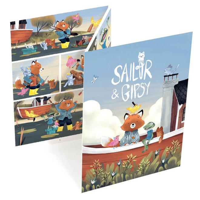 Djeco Krasplaatjes stripverhaal 'Sailor & Gipsy'