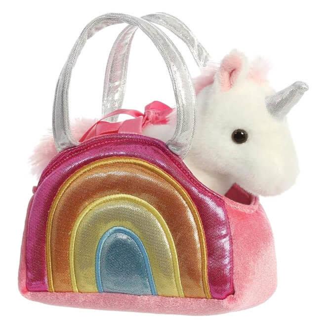 Knuffel eenhoorn in regenboog tasje