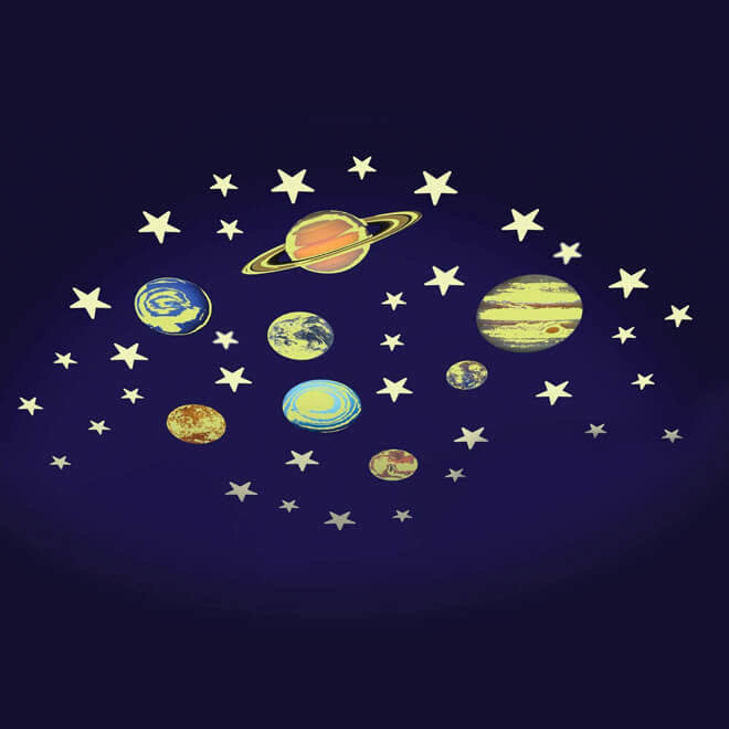 Glow in the dark sterren & planeten