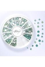 Abstract Premium rhinestone caroussel Opal Green Mix
