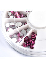 Abstract Premium rhinestone caroussel Pink mix