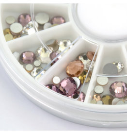 Abstract Premium rhinestone carroussel Roses & Champagne Mix