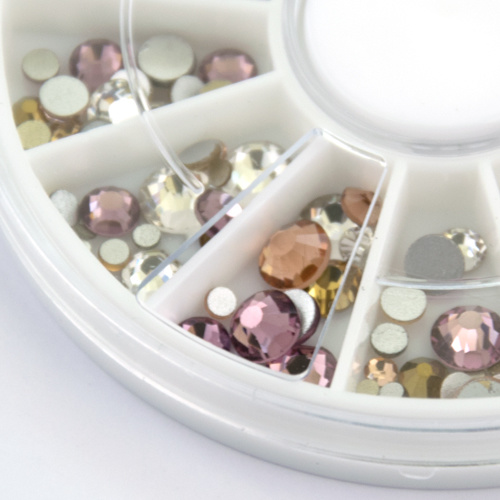 Abstract Premium rhinestone carrousel Roses & Champagne Mix