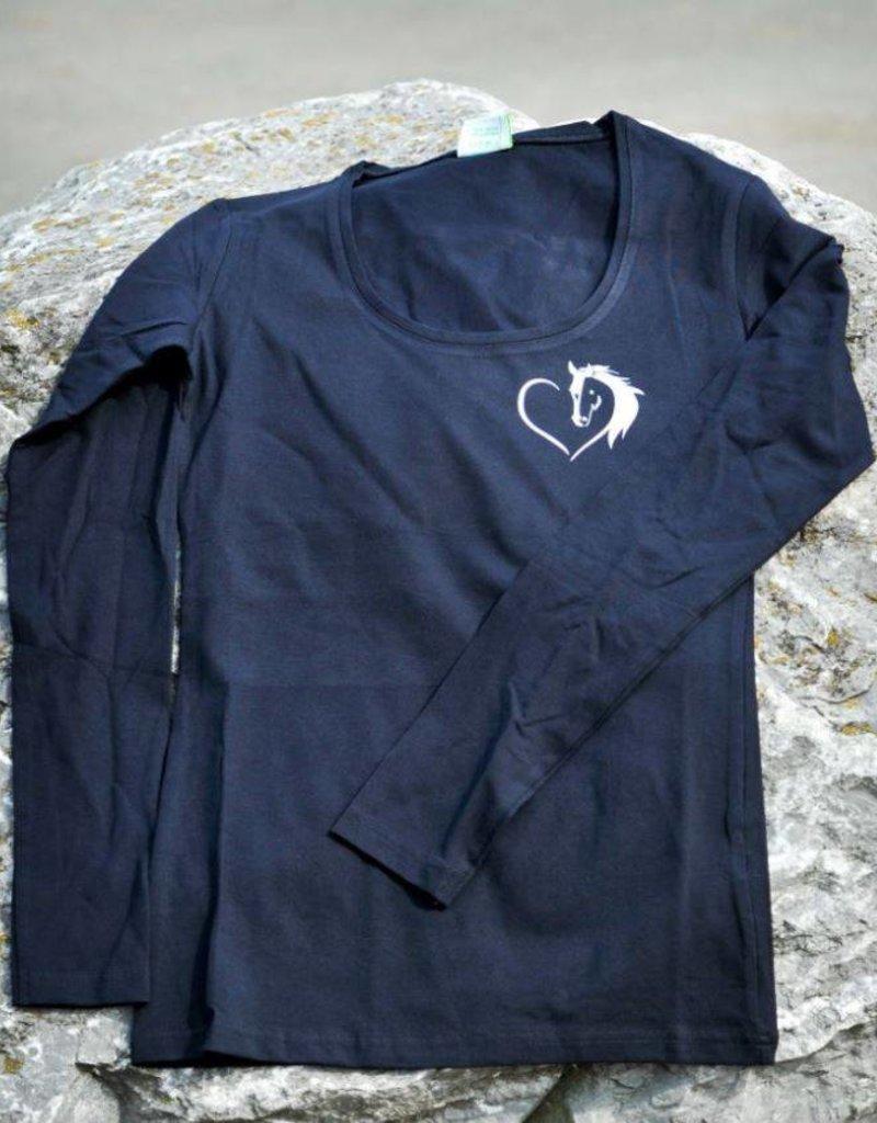 HVP Longsleeve Hart voor Paarden hart - Navy Blauw