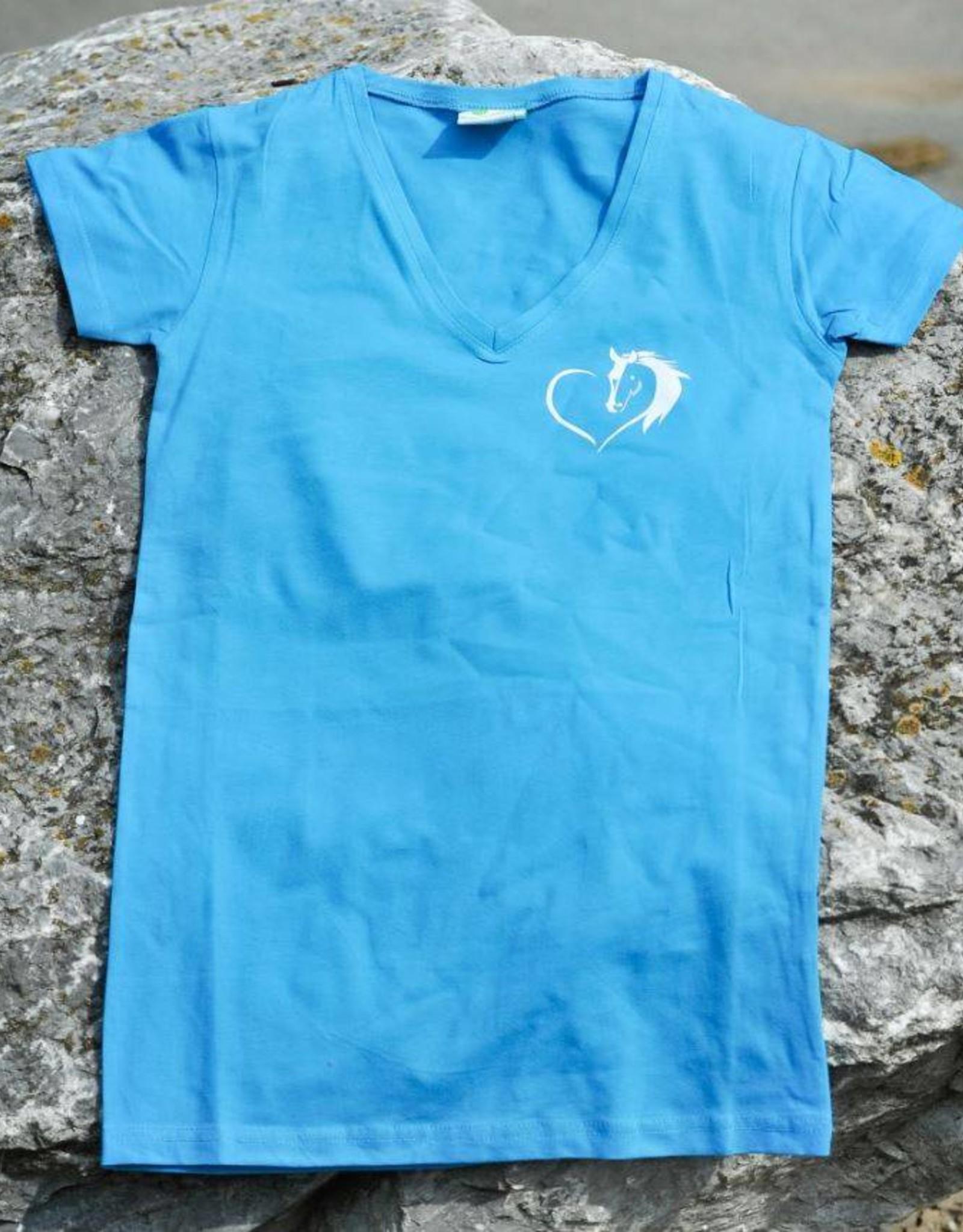HVP t-shirt Hart voor Paarden hart - licht blauw