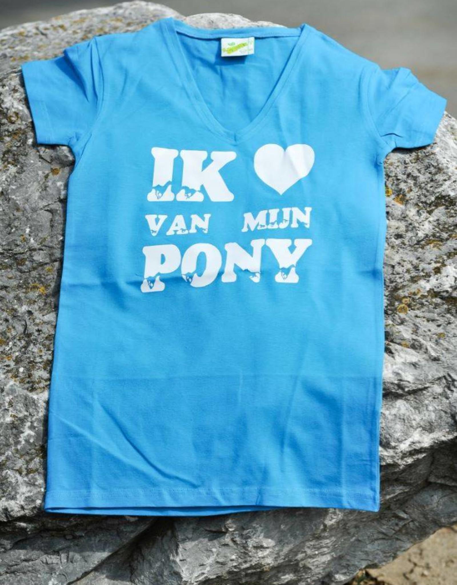HVP t-shirt  - Ik  ♥ van mijn Pony  - licht blauw