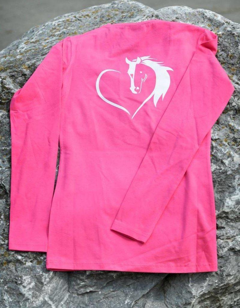HVP Longsleeve Hart voor Paarden hart - roze