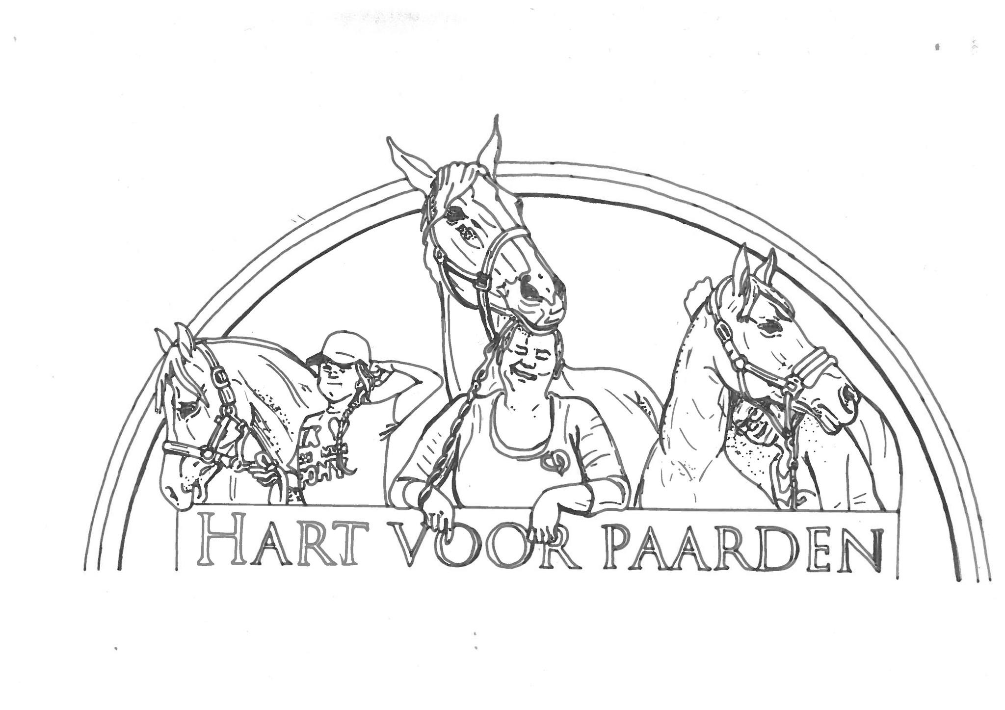 Kleurplaat hart voor paarden