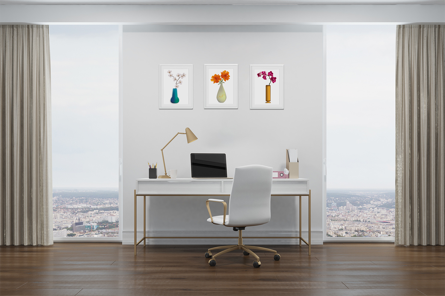 Flower vases high office
