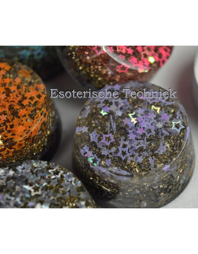 Orgonite ronde vorm met gekleurde sterren