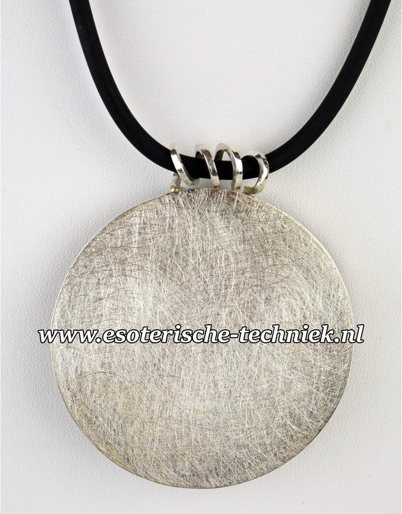 Orgonite Hanger Sieraad van sterling zilver 925  met Abalone schelp, Mookaïet, Rode Jaspis Toermalijn, Magnesiet