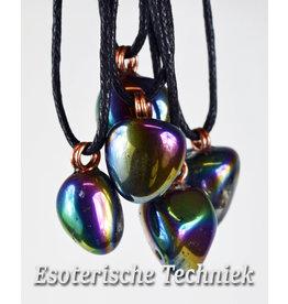 Orgonite edelsteen hanger Regenboog Aura/Titanium Aura kwarts