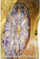 Orgonite Meditatiekruk met Golden Healer, Lemurische Hematietkwarts, Amethist en Citrien  VERKOCHT
