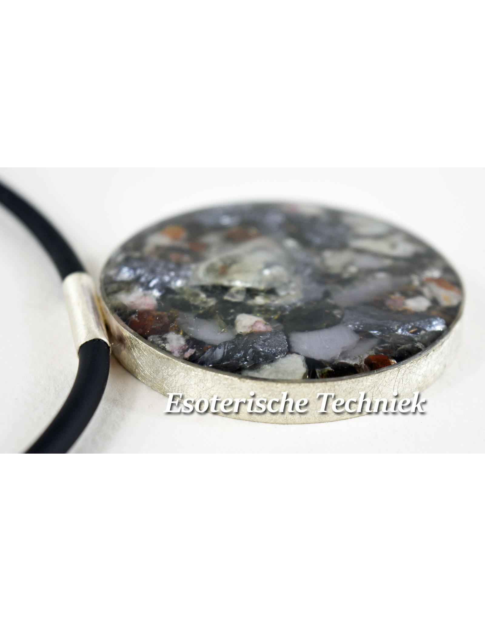 Orgonite Sieraad sterling zilver 925 Lybian desert Glass/Libisch Goudtektiet, Yttrium Fluoriet, Cryoliet, Moldaviet, Nuummiet, Herkimers, Silicium