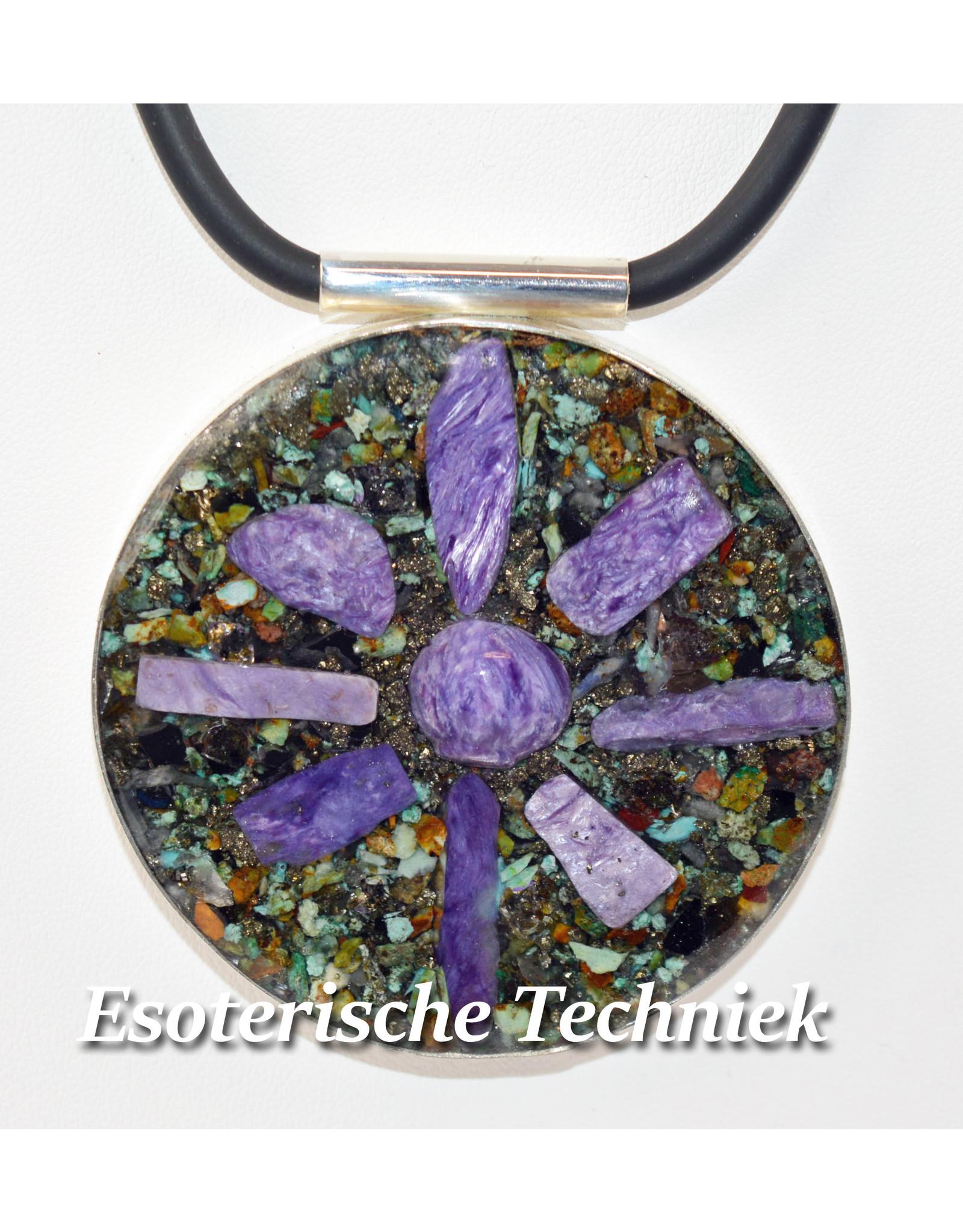 Orgonite sieraad sterling zilver 925 Amulet/Hanger Charoiet, Turkoois, Pyriet, Shungite, Herkimers