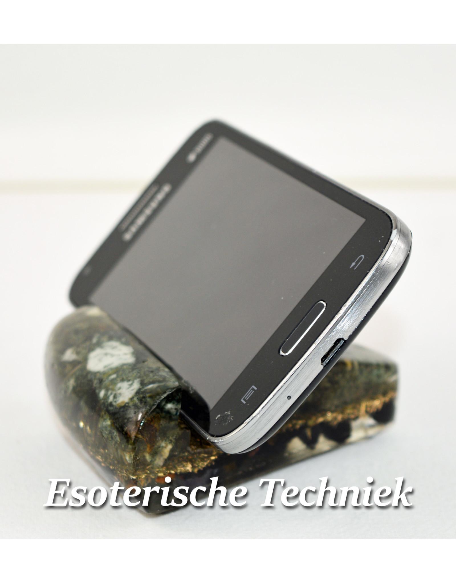 Orgonite Mobiele Telefoonstandaard  voor op je bureau of werkplek met Preseli Bluestone