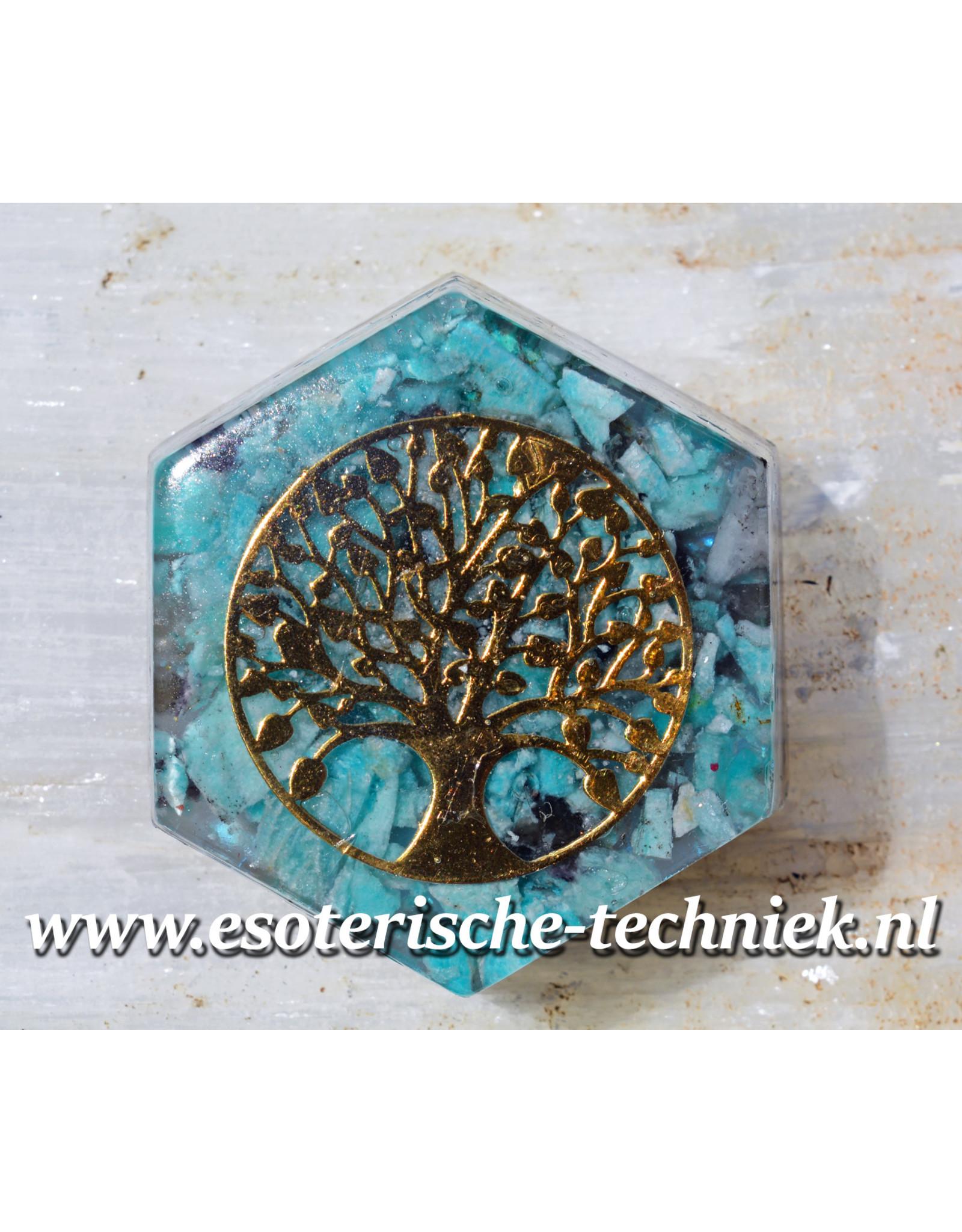 Orgonite Hexagon met de Tree of Life en Azumar