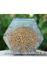 Orgonite Hexagon met de Tree of Life en Regenboog Calciet