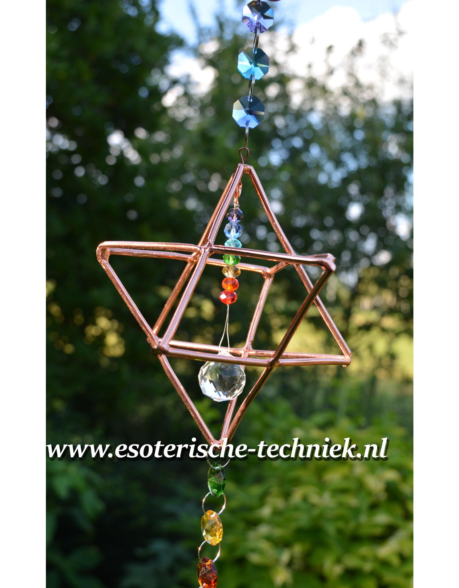 Orgonite Stralingswerende raamhanger Merkaba met Feng Shui kristal en orgonite hart