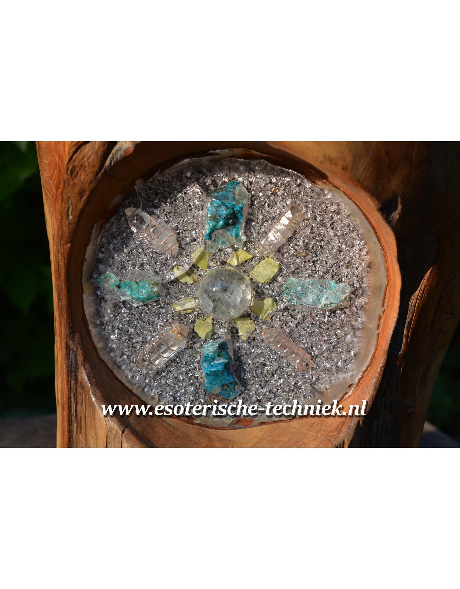 Meditatiekruk met orgonite Geel Turkoois, Shungite, Bergkristal en Chrysocolla