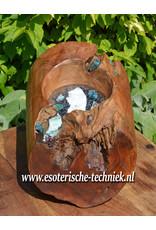 Orgone Orgonite Meditatie kruk met Blauwe Aragoniet, toermalijn, Azumar, Shattuckiet, Bergkristalpunt, Herkimer diamant