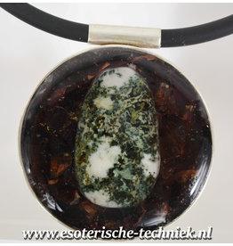 Orgonite sieraad sterling zilver 925 Amulet/Hanger Preseli Bluestone, Granaat