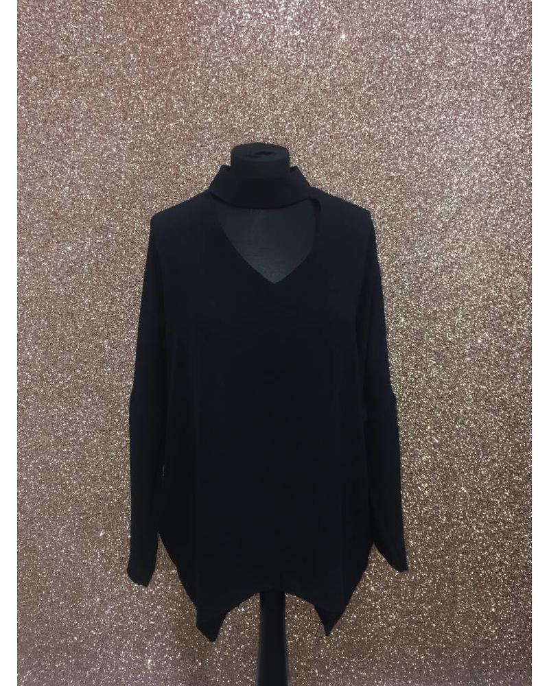 Choker neck flow blouse