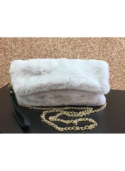 Gold chain faux fur bag