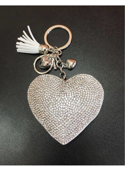 Diamanté Heart cushion Keyring