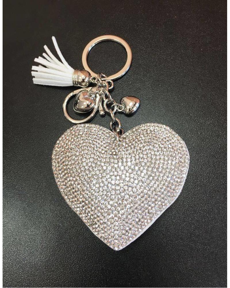 Diamanté Heart cushion Keyring