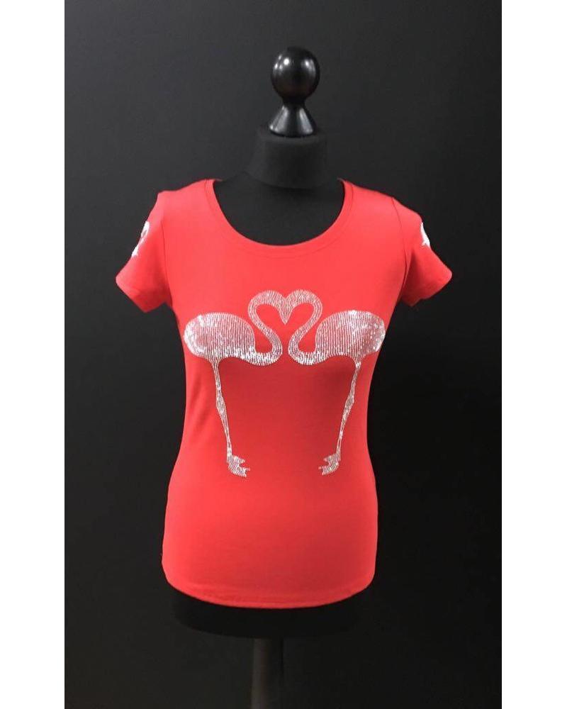 Flamingo diamante embellished T-Shirt