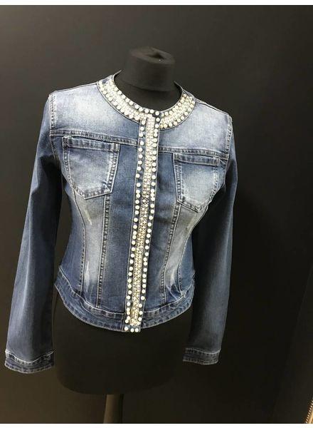 Vanya pearl and diamante denim jacket