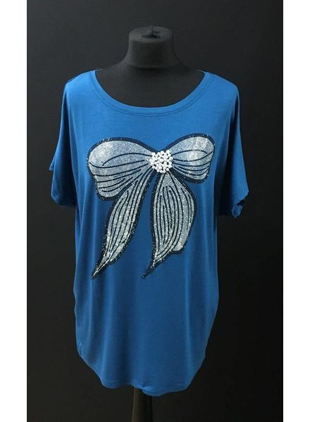 Pearl and Diamante embellished Bow TShirt