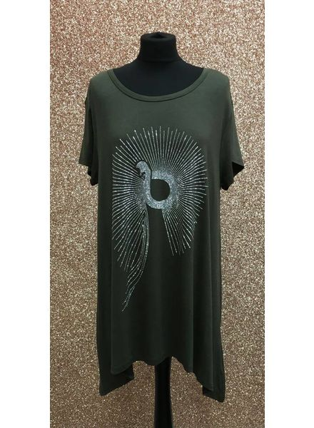 Peacock diamante embellished loose top