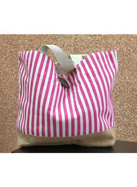 Stripy slouch beach bag
